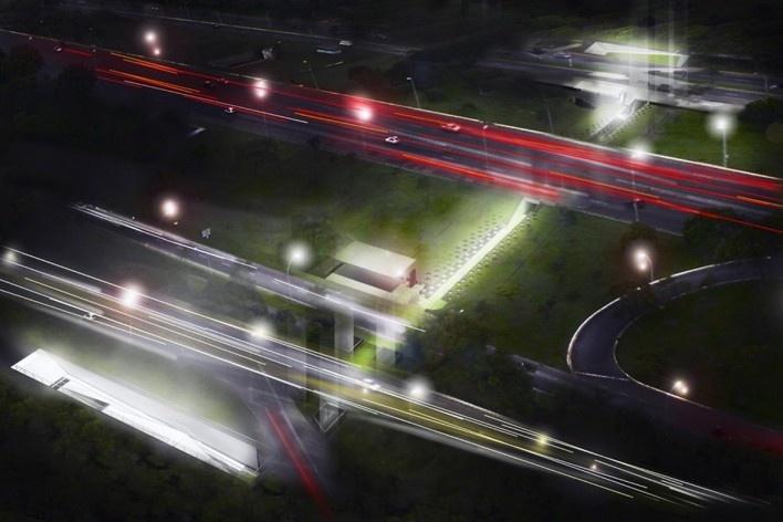 Perspectiva ilustrativa externa e noturna, mostrando todo o percurso da passagem sob o eixão. Concurso Passagens sob o Eixão. Menção honrosa 5<br />divulgação