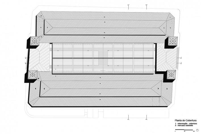 Cobertura do Mercado Público de Florianópolis, planta cobertura, 2016. Arquitetos Gustavo Correia Utrabo e Pedro Lass Duschenes<br />Imagem divulgação