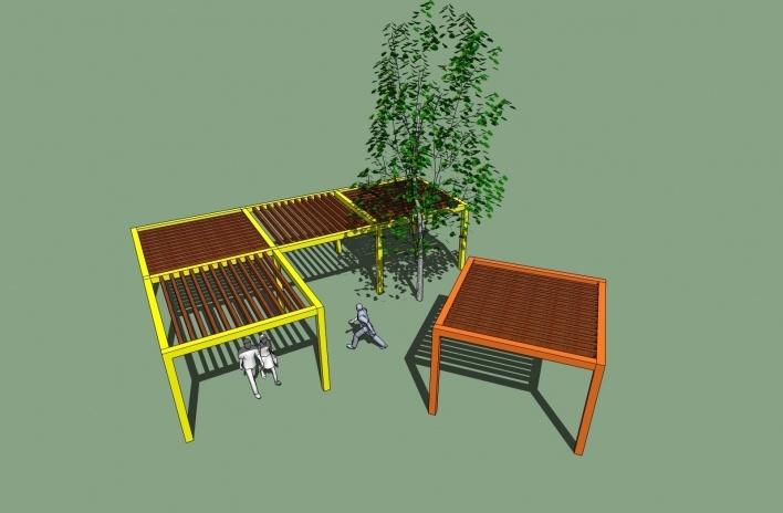 Modelo 3D - Pérgola-Mesa<br />Imagem dos autores do projeto