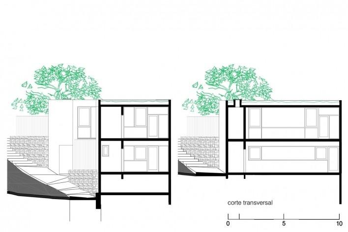 Casa da Lagoa, transverse section, Florianópolis SC Brasil, 2019. Architects Francisco Fanucci and Marcelo Ferraz / Brasil Arquitetura<br />Imagem divulgação  [Acervo Brasil Arquitetura]