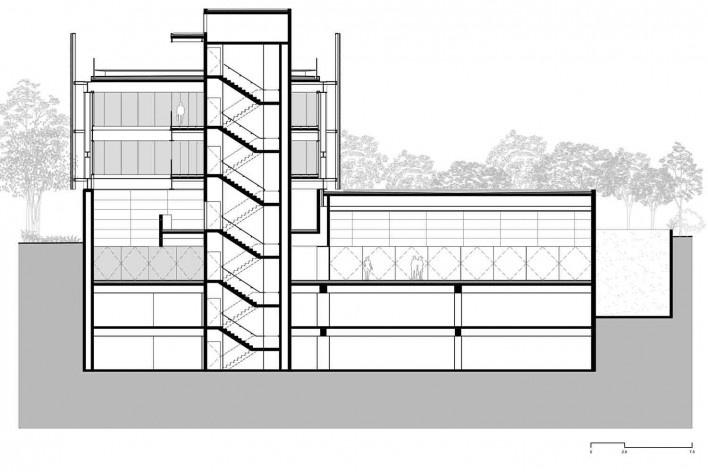 Nova sede da Confederação Nacional de Municípios – CNM, corte CC, Brasília DF, 2016. Arquitetos Luís Eduardo Loiola e Maria Cristina Motta / Mira Arquitetos<br />Desenho divulgação