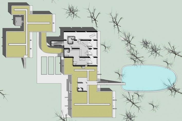 Casa Sarabhai, planta primeiro pavimento, Shadibag, Ahmedabad, India, 1952-55. Arquiteto Le Corbusier<br />Elaboração Edson Mahfuz