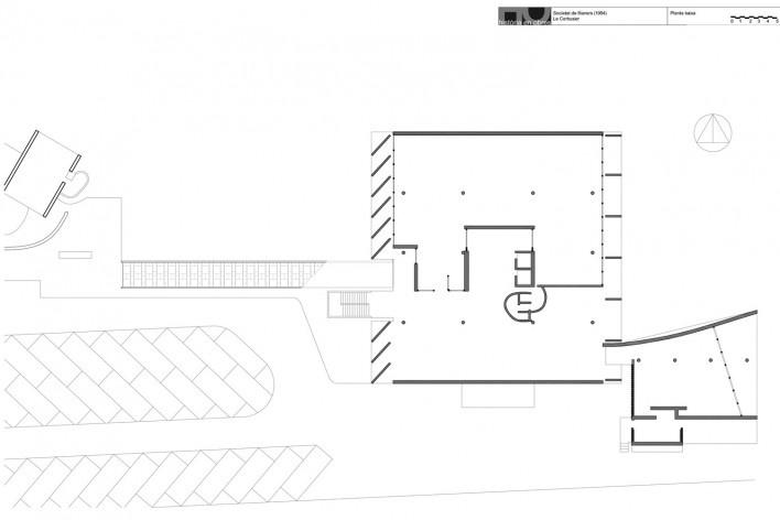 Associação da Indústria Têxtil, planta pavimento térreo, Ahmedabad, Gujarat, Índia, 1954. Arquiteto Le Corbusier [Reprodução/ Reproducción website historiaenobres.net]