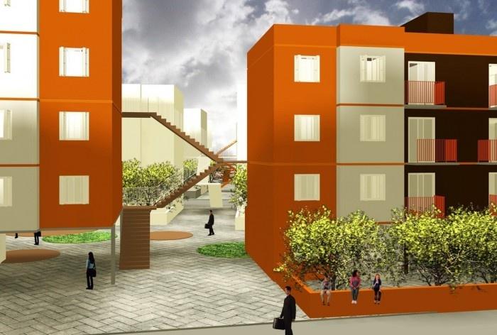 Perspectiva. Concurso Habitação para Todos. CDHU. Edifícios de 4 pavimentos - Menção honrosa.<br />Autores do projeto  [equipe premiada]