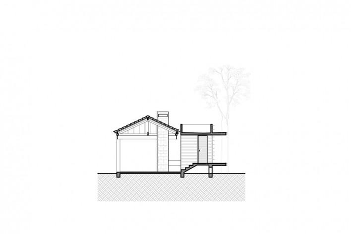 Casa Lutzenberger, corte do anexo. Reforma Kiefer arquitetos