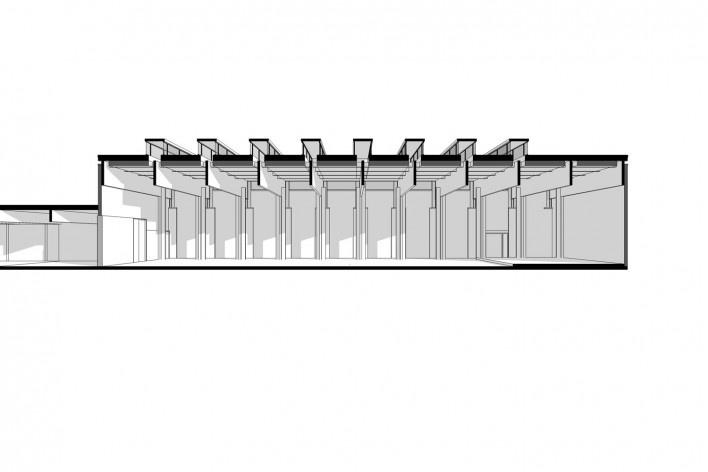 Saint Catherine's College, corte longitudinal do refeitório, com sombras, Oxford, Inglaterra, 1959-1964, arquiteto Arne Jacobsen<br />Modelo tridimensional de Edson Mahfuz e Ana Karina Christ