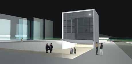 Vista noturna do Edifício-Mirante<br />Imagem dos autores do projeto