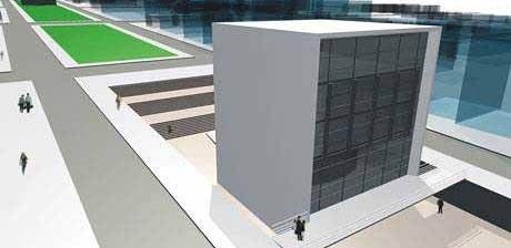 Vista da praça rebaixada com escadaria/ arquibancada<br />Imagem dos autores do projeto