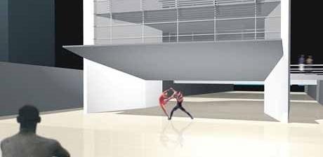 Vão livre do Edifício–Mirante utilizado como palco<br />Imagem dos autores do projeto