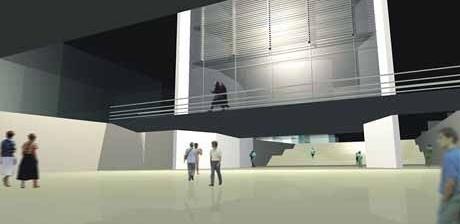 Praça rebaixada como espaço de encontro<br />Imagem dos autores do projeto