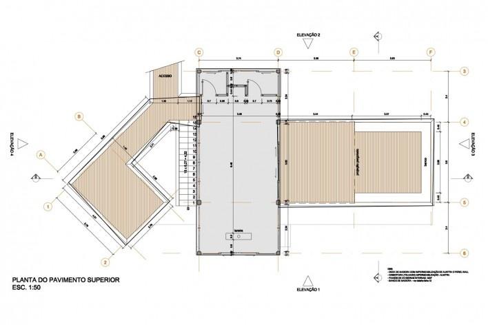 Casa do Felix, planta pavimento superior, Praia do Felix, Ubatuba SP, arquiteto Silvio Sant'Anna<br />Imagem divulgação
