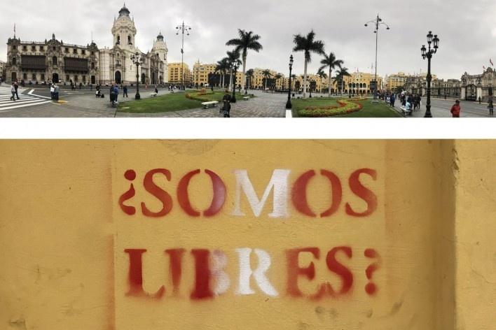 Acima, Plaza Mayor de Lima; abaixo, silkscreen na região de San Francisco, Lima, distrito central<br />Foto José Lira