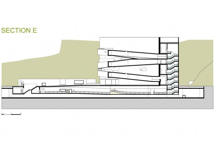 Sede da Fundação Iberê Camargo, corte E. Arquiteto Álvaro Siza, 2008<br />Desenho escritório