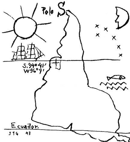 América Invertida, 1943<br />Desenho de Joaquín Torres García  [Museo Torres García. Montevideo, Uruguay]