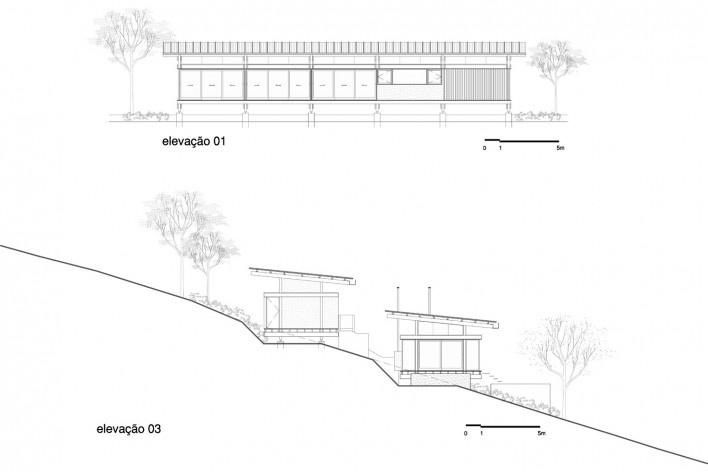 Casa em Gonçalves, elevações 01 e 03, Gonçalves MG Brasil, 2012-2013. Arquiteto André Vainer / André Vainer Arquitetos<br />Imagem divulgação  [Acervo André Vainer Arquitetos]