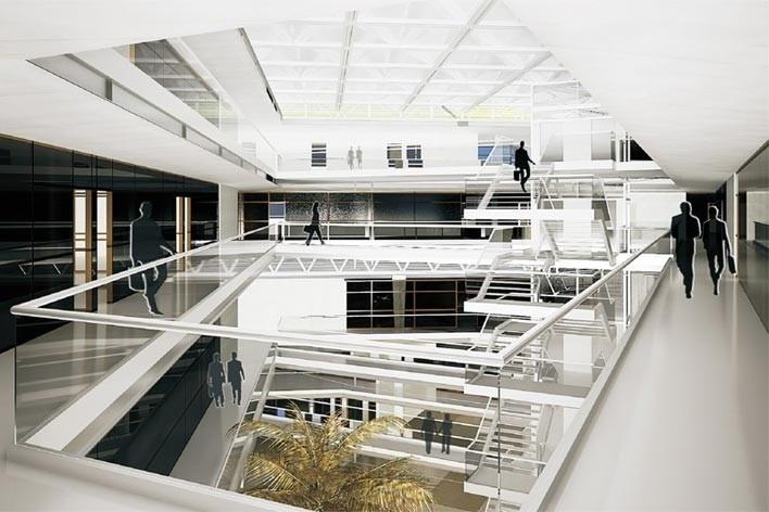 Centro de Referência em Empreendedorismo do Sebrae-MG, iluminação natural difusa, 3º lugar. Arquiteto Enrique Hugo Brena, 2008<br />Desenho escritório