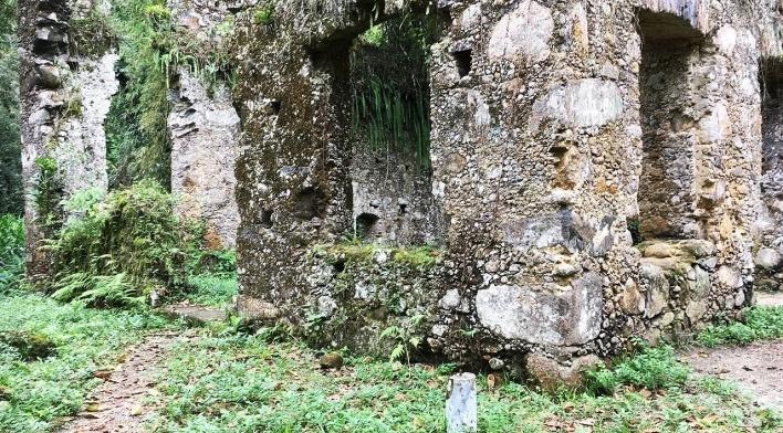 Ruínas do Engenho da Lagoinha, detalhe dos vãos de janela em quina, Ubatuba SP<br />Foto Thamara Gasch