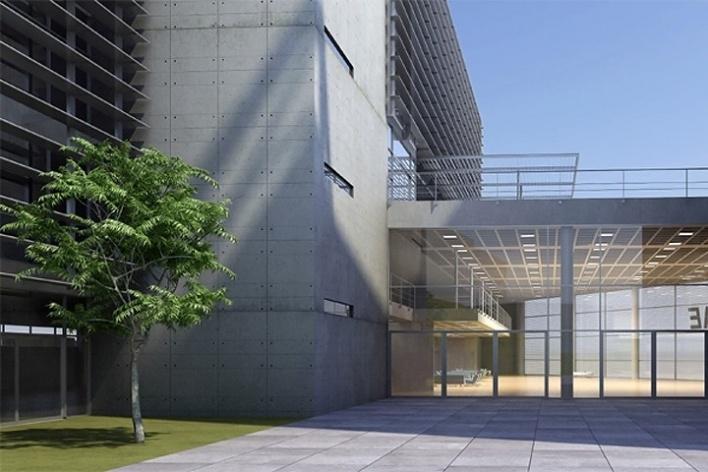 Centro de Referência em Empreendedorismo do Sebrae-MG, praça pátio, 2º lugar. Arquiteto Francisco Spadoni, 2008<br />Desenho escritório