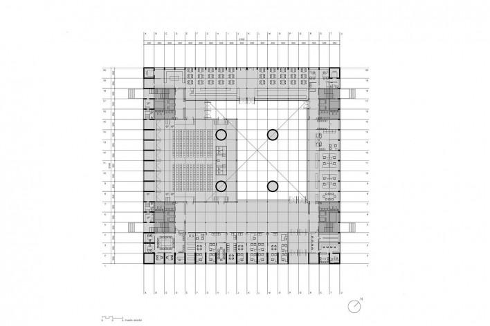 Caja Granada, planta térreo, Granada, Andaluzia, Espanha, 2001. Arquiteto Alberto Campo Baeza<br />Imagem reprodução / imagen reproducción  [Website campobaeza.com]