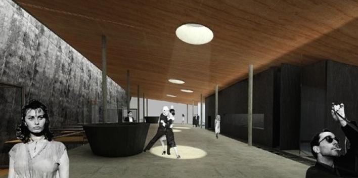 Vista interna do foyer no segundo pavimento com passarelas de conexão com teatros à esquerda<br />Imagem do autor do projeto