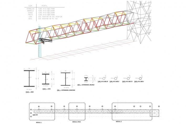 Estrutura passarela 1<br />Metro Arquitetos Associados