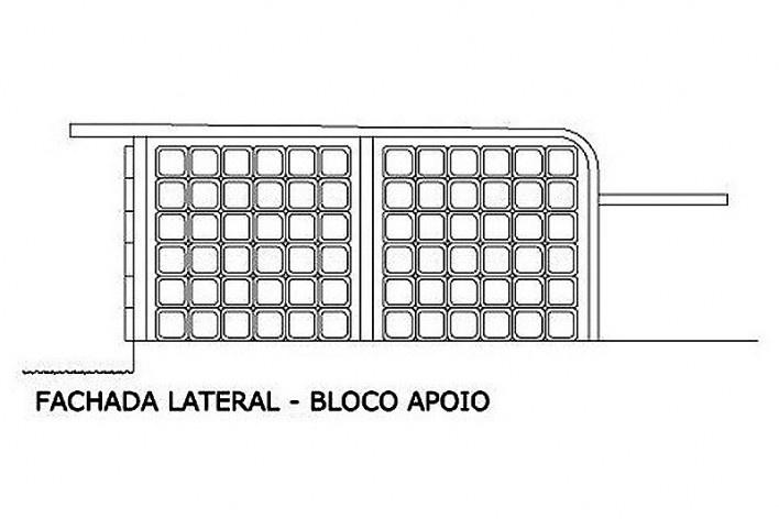 Fachada lateral bloco de apoio. Academia da Saúde. Recife, 2011<br />divulgação