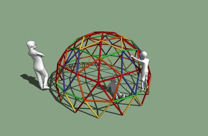 Modelo 3D - Geodésica<br />Imagem dos autores do projeto