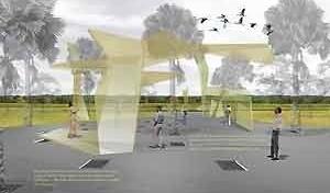 Estruturas informativas na saída do estacionamento<br />Imagem dos autores do projeto
