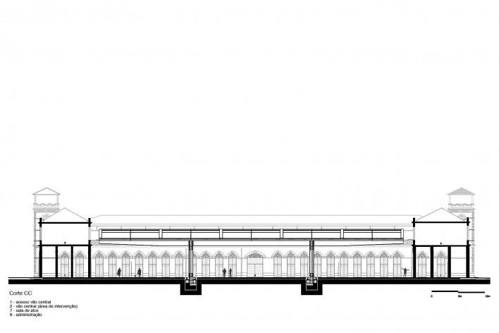 Cobertura do Mercado Público de Florianópolis, corte CC, 2016. Arquitetos Gustavo Correia Utrabo e Pedro Lass Duschenes<br />Imagem divulgação