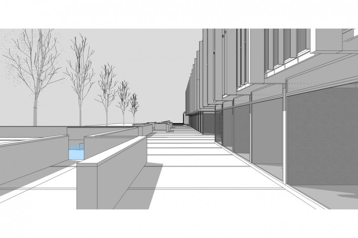 Saint Catherine's College, vista do terraço de acesso, lado oeste, Oxford, Inglaterra, 1959-1964, arquiteto Arne Jacobsen<br />Modelo tridimensional de Edson Mahfuz e Ana Karina Christ