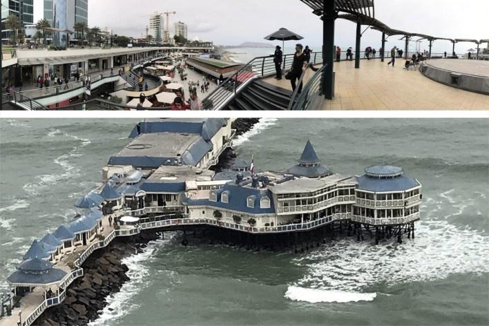 Acima, Restaurante La Rosa Nautica, Lima, 1983; abaixo, Shopping Center Larcomar, Lima, 1998<br />Foto José Lira