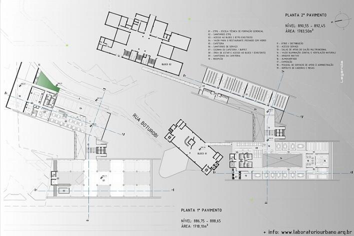 Centro de Referência em Empreendedorismo do Sebrae-MG, plantas primeiro e segundo pavimentos, menção honrosa. Arquiteto Érico Flumignan Pacheco, 2008<br />Desenho escritório