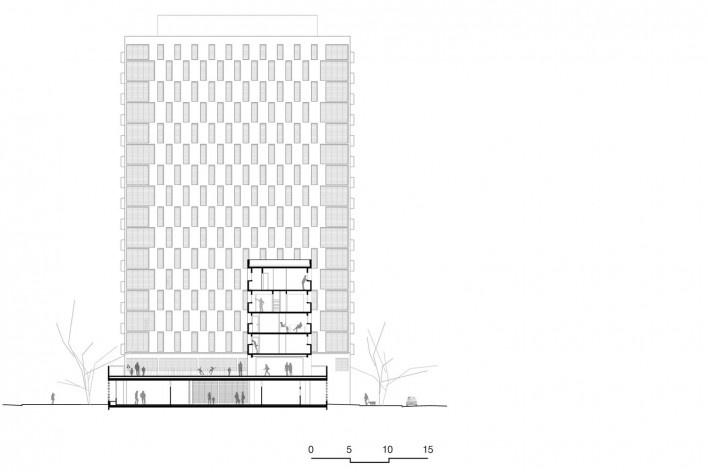 Corte transversal, conjunto habitacional do Jardim Edite<br />Desenho MMBB & H+F