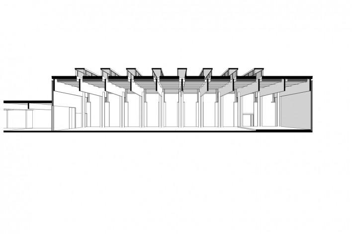 Saint Catherine's College, corte longitudinal do refeitório, Oxford, Inglaterra, 1959-1964, arquiteto Arne Jacobsen<br />Modelo tridimensional de Edson Mahfuz e Ana Karina Christ