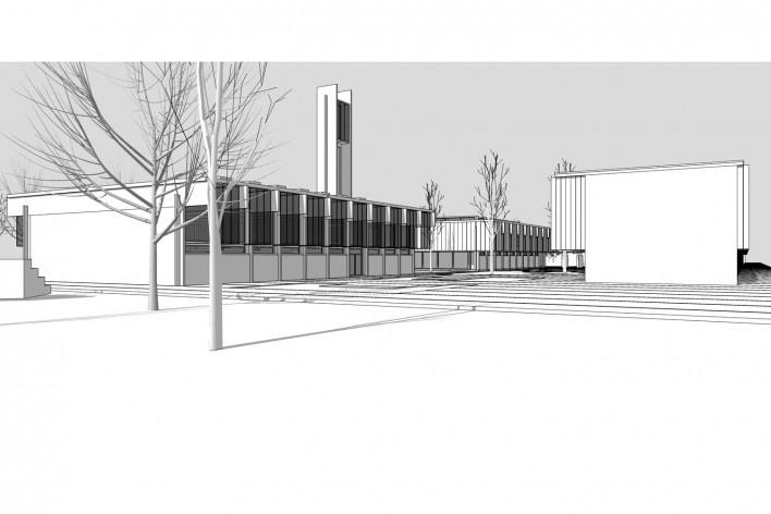Saint Catherine's College, vista do extremo sul do conjunto, Oxford, Inglaterra, 1959-1964, arquiteto Arne Jacobsen<br />Modelo tridimensional de Edson Mahfuz e Ana Karina Christ
