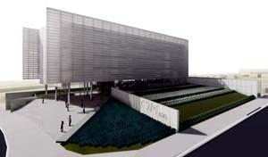Vista geral da praça de entrada e do jardim sobre o auditório      <br />Imagem dos autores do projeto