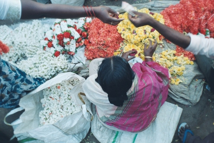 Flores à venda, Mysore, Índia<br />Foto Fabricio Fernandes