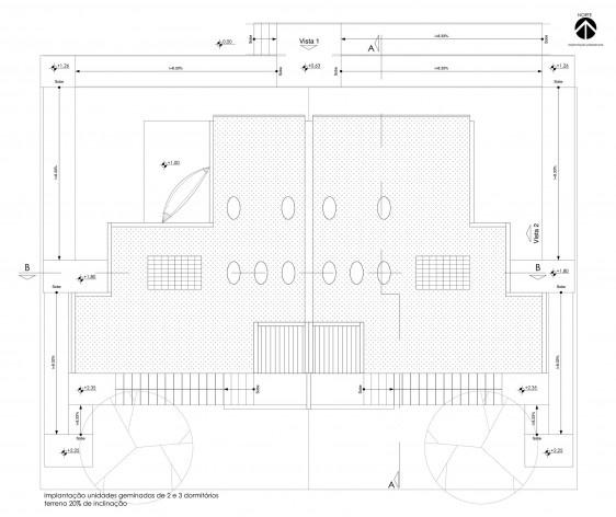 Implantação geminada de unidades com 2 e 3 dormitórios (terreno com 20% de inclinação). Concurso Habitação para Todos CDHU. Casas escalonadas - Menção honrosa.