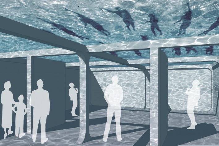 Teatro invisível, montagem simulando uso do pavimento técnico. Carlos M. Teixeira