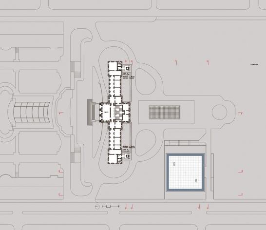 Ampliação do Museu Paulista da USP (Museu do Ipiranga), planta cobertura. Arquitetos Eduardo Colonelli e Silvio Oksman, 2008<br />Imagem escritório