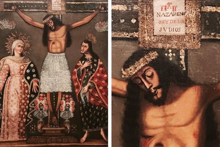 Anônimo Cuzqueño, Cristo de los temblores, 1750-1780 (à direita, detalhe)<br />Foto José Lira