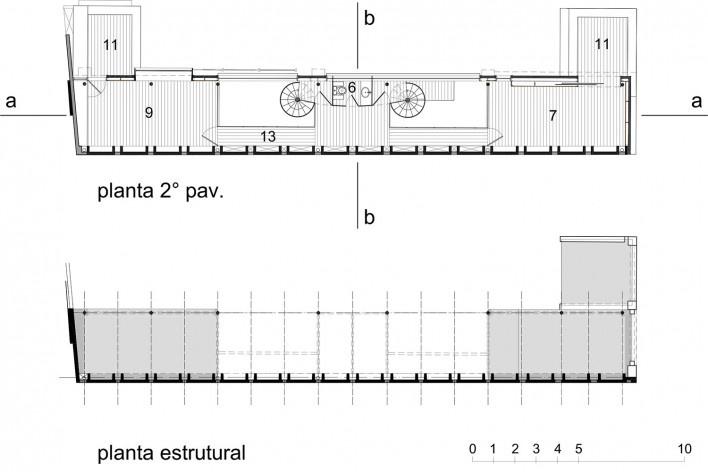 Casa de Ipanema, plantas superior e estrutura, Sergio M. Marques, 2007/2009<br />Desenho Sergio M. Marques