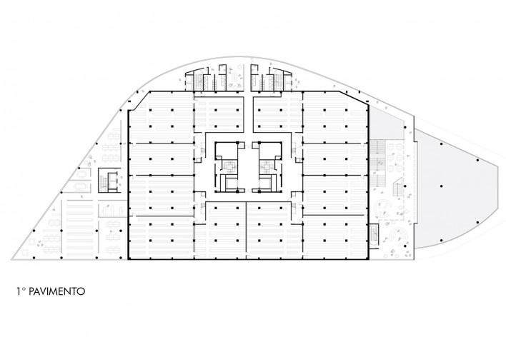 Concurso Anexo da Biblioteca Nacional, planta pavimento 1, Rio de Janeiro, 3º lugar, arquiteto Renato Dal Pian<br />Imagem divulgação