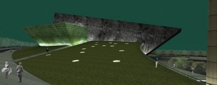 Vista geral do conjunto com praça gramada em primeiro plano sobre as áreas públicas do foyer<br />Imagem do autor do projeto
