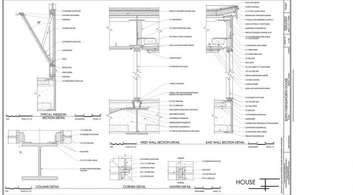 Casa Edith Farnsworth, detalhes das esquadrias, Plano, Illinois, Estados Unidos. Arquiteto Ludwig Mies van der Rohe, 1951 [National Trust for Historic Preservation]