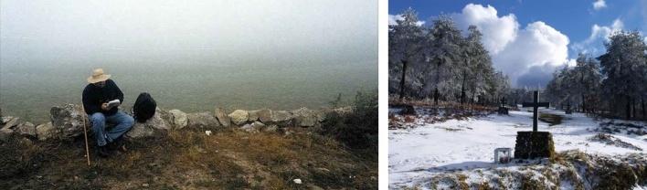 Hospital da Cruz. Arza / Cruz na neve. perto de Nossa Sra. do Faro<br />Foto 1. Delmi Alvarez/ Foto 2.Fernando Bellas