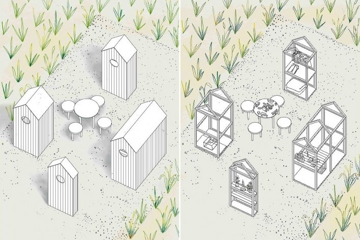 The cabins, structure and program [Atelier Ichiku]