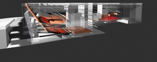 Perspectiva teatros 1, 2 e conexões<br />Imagem do autor do projeto