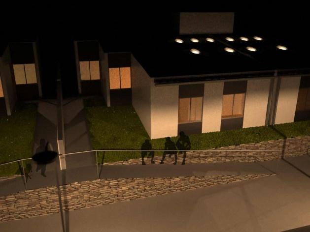 Perspectiva externa noturna. Concurso Habitação para Todos CDHU. Casas escalonadas - Menção honrosa.<br />Autores do projeto  [equipe premiada]