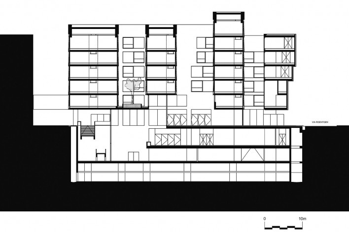 Nova Bocconi, corte longitudinal. Grafton Architects [Grafton Architects]